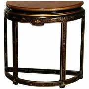 Antique Drexel Heritage Ebonized And Chinoiserie Decorated Demilune Console 20th C