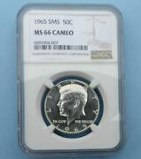 1965 Sms Ngc Ms 66 Cameo Kennedy Half Dollar Gem Ms 66 Cam Tough Year In Cameo