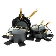 12 Pc. Gold Pots And Pans Cookware Set Non Stick Stainless Steel Induction Base