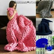 Knit Throw Sofa Bed Blanket Carpet Wool Chunky Knitted Thick Blanket Yarn Bulky