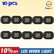 10x160w 5inch Flush Mount Led Work Light Rear Bumper Reverse Pods 4wd For Jeep