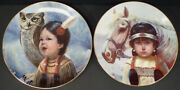 2 Perillo Collector Plates Small And Wise / Kindred Spirits 1986 Vague Shadows
