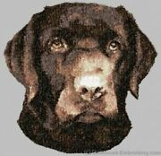 Embroidered Short-sleeved T-shirt - Chocolate Labrador Retriever Dle3722