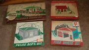 Vintage Plasticville Building Lot Police, Fire, Train Station And House Minty