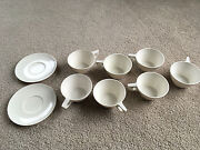 Texasware Melmac 7 Coffee Cups Mugs And 2 Cup Saucers White Set Hard Plastic