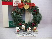 Hallmark 1990 Little Frosty Friends 4 Ornaments With Wreath And Stand