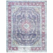 9and03910x12and0398 Hand Knotted Semi Antique Purple Farsian Tebraz Wool Rug R60900