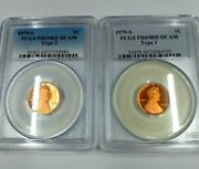 1979-s 2 Coin Set Type 1 And Type 2 Lincoln Cent Pcgs Pr69rd Dcam Proof Mint