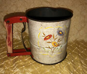 Vintage Androck Red Kitchen Hand-i-sift Flour Sifter, Colorful Flowers