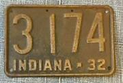 Indiana 1932 License Plate 3174