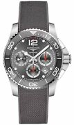 Longines Hydroconquest Automatic Chrono Grey Rubber Divers Mens Watch L37834769