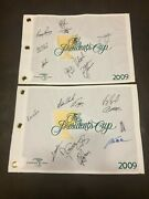 2 Signed 2009 Presidents Cup Golf Flags Usa And International Teams