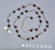 ❤️ Silpada Faceted Garnet Bead Necklace N1053 Sterling Silver 16 - 18