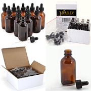 12 Amber 2 Oz Glass Bottles With Glass Eye Droppers