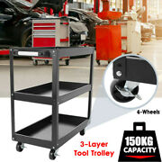 3-layer Tool Cart Trolley Workbench Workstaion Heavy Duty 4-wheels Us Stock