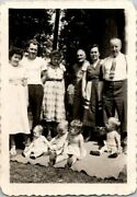 Family Of 10 Posing For Memories At Bbq In The Woods Nature Found B+w Photo 0218