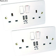 2 Pack- Double Uk Mains Power Socket And Usb Port Wall Face Plateandndash Iphone Charger