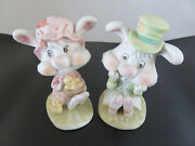 Lefton China Hand-painted Rabbit 2721 Lot Of 2 Figurines