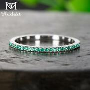 Kuololit Solid 100 Natural Emerald 10k White Gold Gemstone Rings For Women Band