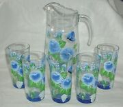 Pasabahce Glass Pitcher And Tumbler Set Blue White Flower Beverage Drinkware