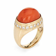 Salmon Coral Diamond Ring Estate 18k Yellow Gold East West Mount Jewelry 5.5