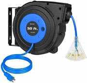 Dewenwils 50ft Retractable Extension Cord Reel 14awg/3c Heavy Duty Power Cord