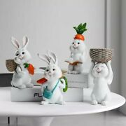 New Easter Resin Cute Rabbit Animal Figurines Miniature Decoration For Home