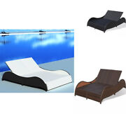 Sun Lounger Adjustable Back Rest Garden Chair Bed Relaxer Cushion Poly Rattan