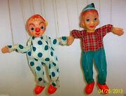 Vintage 1950's Japan Puppet / Marionette Pinocchio And Clown On A String-w/sticker