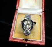Perfect Art Deco 14k White Gold Over Engagement Trilogy Ring 2.5ct Diamond