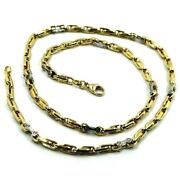 18k Yellow White Gold Chain 4mm Alternate 4+1 Oval And White Bike Link 60cm 24