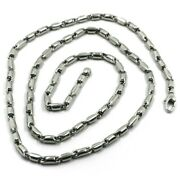 18k White Gold Chain 3.5mm Alternate Rounded Tube Link 50cm 20 Made In Italy
