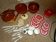 Vintage Pretend Play Dishes Unmark And Chilton Tea Set Dishes Pans Misc Toy Lot