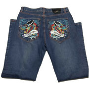 Y2k Ed Hardy By Christian Audigier Embroidered Dragon Denim Jeans Fits 38x34