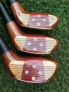 Left Hand Lh Persimmon Sounder Usa Golf Clubs Woods Set Driver 3 5 W New Grips