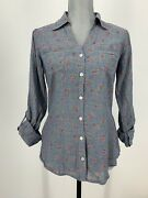 Girl Crazy Junior M Chambray Floral Button Front Collared Long Sleeve Roll Tab
