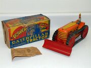 Marx Tin Litho Climbing Caterpillar Tractor W/plow Wind Up Toy Vehicle Works