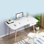 Home Office Computer Dressing Desk Workstation Wood Laptop Pc Table Drawer White