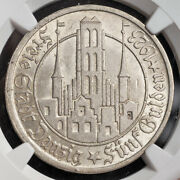 1923, Danzig Free City. Beautiful Large Silver 5 Gulden Coin. Rare Ngc Ms-63