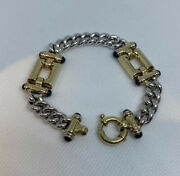 14k Italian Buckle And Chain Bracelet With Sapphires