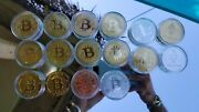 Set Of 12x Gold Bitcoin Coins 2x Litecoin 2 Ethereum Collector Gold Silver Plate