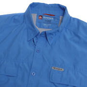 Simms Guide Series Mens Fly Fishing Vented Button Up Long Sleeve Shirt Blue 2xl