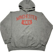 Vintage 70s Russell Mens Xl Triblend Hoodie Sweatshirt Winchester 409 Gray Red
