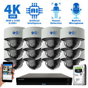16 Channel Nvr 12 4k Poe Ip Color Night Vision Microphone Security Camera System