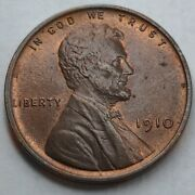 Bu - 1910 - P - Us Lincoln Wheat Cent - Exceptional Condition - Luster K2