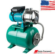 1hp 750w Shallow Well With Pressure Tank 740gph Stainless Steel Jet Pump 110v Us