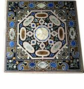 42 Marble Black Top Dining Table Pietra Dura Inlay Arts Living Home Decor B908