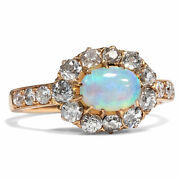 Um 1900 Ring From Rosandeacutegold With Opal And Vintage Cut Diamonds Opal Gold 750