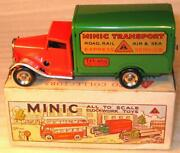 Tri-ang Minic Clockwork No 21m Transport Van. In Red And Green 1950s.excellent