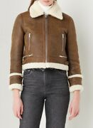 Nwt Maje Bartonfinko Brown Leather Shearling Zip-up Jacket Size 40 745